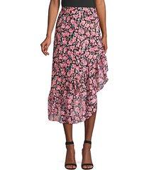 floral ruffle midi skirt