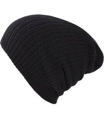gorro unisex punto suave algodon invierno liso 028 negro