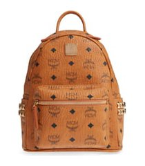 mcm mini stark side stud coated canvas backpack in cognac at nordstrom