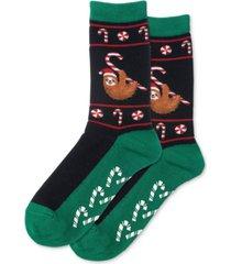 hot sox women's christmas sloth non-skid crew socks