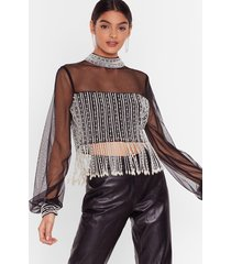 womens all or nothing pearl crop top - black