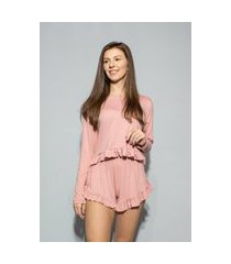 pijama hygge homewear malha modal rosa manga longa e shorts