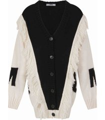 msgm black cardigan for girl with logo