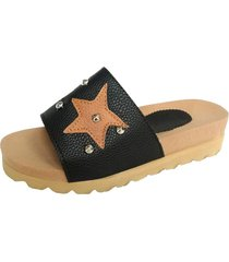 sandalia negra supercompras estrellas