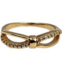 anel papillô joias laço meio cravejado, em ouro 18k