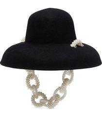 pearl embellished felted bowl hat