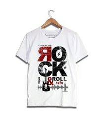 camiseta rock in roll mandrac branca