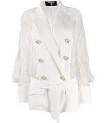 balmain sheer panel double-breasted silk blazer - white