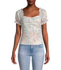 lea & viola women's puff-sleeve floral top - floral - size xs