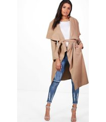 belted waterfall coat, camel