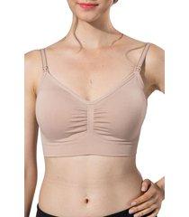 women's modern eternity jade seamless nursing bra, size small - beige