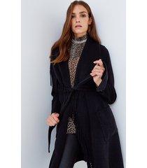 motivi cappotto lungo con frange donna nero