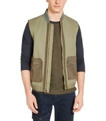 sun + stone men's green utility vest, created for macy's