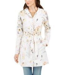kensie hooded floral-print water-resistant trench coat