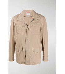 brunello cucinelli multi-pocket high neck jacket