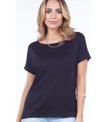 blusa feminina básica manga curta barra mullet - feminino
