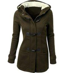 chaqueta abrigo/algodón clásico con gorro manga larga para mujer-verde