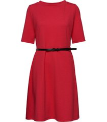 dress knitted fabric knälång klänning röd taifun