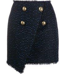 balmain asymmetric wraparound tweed skirt - blue