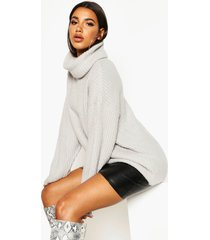 oversized roll neck rib knit sweater, silver