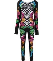 versace jeans couture baroque-print slim-fit jumpsuit - black