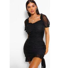 geplooide dobby mini jurk, zwart