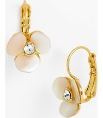kate spade new york disco pansy drop earrings in cream/clear/gold at nordstrom
