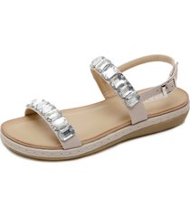 sandalias de strass zapatos planos de playa.