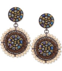 inc brown-tone beaded oval drop earrings, created for macy's