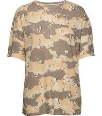 desert linen tee t-shirts & tops short-sleeved multi/mönstrad superdry