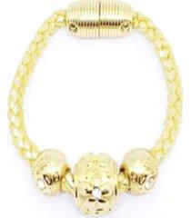 pulseira alice monteiro trançada dourada. - kanui