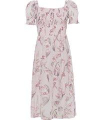 abito con lavorazione smock e scollo quadrato (rosa) - bodyflirt