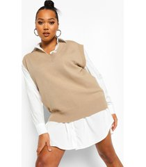 plus 2-in-1 oversized sweatshirt jurk, khaki