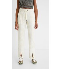 wide comfortable trousers with drawstring - white - xl