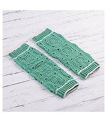 hand-crocheted alpaca blend leg warmers, 'inca style in mint' (peru)