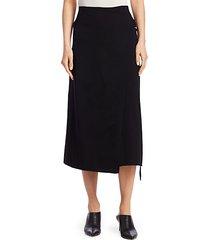 compact merino wool-blend midi wrap skirt