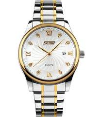 vigilanza di cristallo di quarzo dell'orologio del calendario d'acciaio pieno degli orologi impermeabili di stile degli uomini di affari