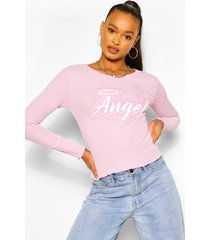 angel print ribbed lettuce frill top, lilac
