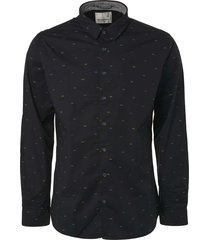 shirt, l/sl, allover printed, stret black