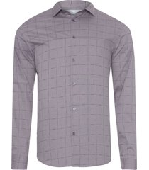 camisa masculina regular xadrez falhado - cinza