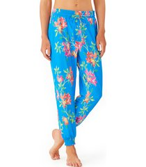 women's tommy bahama sun lilies cover-up joggers, size medium - blue