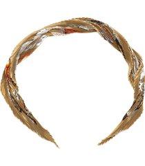 hermes printed pleated silk scarf brown, beige, multi sz: