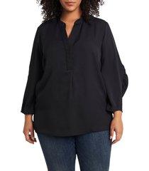 plus size women's vince camuto ruched sleeve split neck blouse, size 2x - black