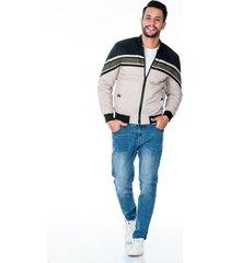 chaqueta para hombre beige y negra  diseño de franjas cremallera y bolsillos laterales con broche de punto