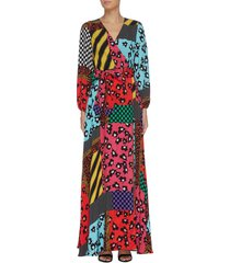'coco' floral print panelled colourblock maxi dress