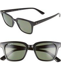 women's ray-ban wayfarer 51mm polarized sunglasses - black/ dark green polar