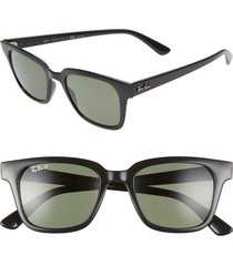 ray-ban wayfarer 51mm polarized sunglasses in black/dark green polar at nordstrom