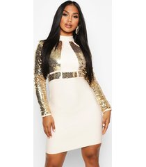 boutique bandage high neck sequin mini dress, champagne