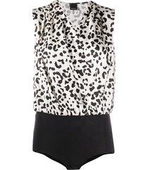 pinko ines animal-print bodysuit - white