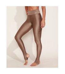 calça legging feminina esportiva ace cintura super alta com pezinho e brilho marrom
